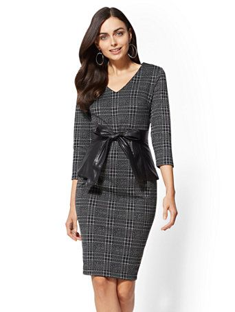 81a53464 Women's Clothes & Accessories | Shop at New York & Company. Shop 7th Avenue  -Petite Faux Leather-Trim Sheath Dress. Find your perfect size