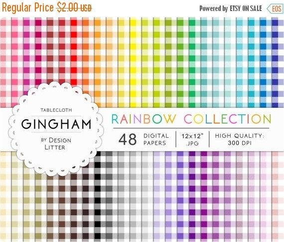 """80% off Entire Store SALE Gingham digital paper: 48 rainbow gingham picnic tablecloth and checkered backgrounds for scrapbooking  Instant d by DesignLitter  0.40 USD  Gingham digital paper. Digital papers pack """"Gingham""""  50% OFF SALE  with rainbow gingham seamless patterns These rainbow digital papers include 48 sheets of gingham picnic tablecloth and checkered in a rainbow of colors customizables! You will receive: 48 gingham digital papers .JPG high resolution 300 dpi 12x12 inches. This…"""