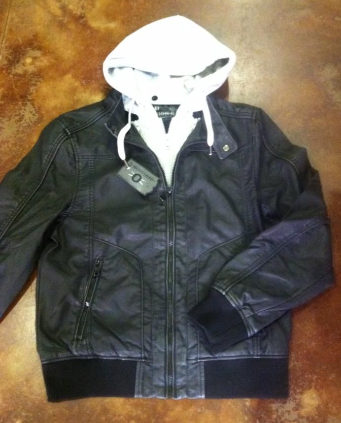 Faux leather jacket with hooded insert from Division E! #divisione #shophouseofsage www.houseofsage.com www.facebook.com/shophouseofsage