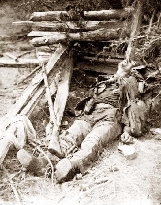 Scene of Ewell's attack, May 19, 1864, near Spottsylvania [i.e. Spotsylvania] Court House. Dead Confederate soldier