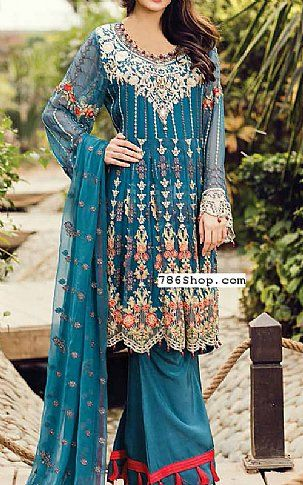 Teal Blue Chiffon Suit | Buy Flossie Pakistani Dresses and Clothing online in USA, UK