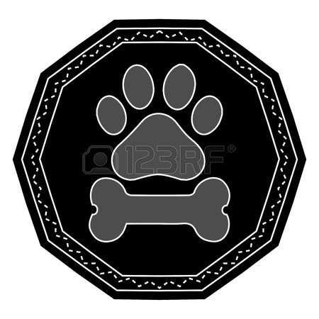 Impresión de la pata del perro con hueso. Foto de archivo - 38093790