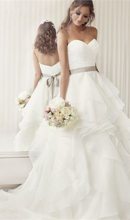 Cheap Wedding Dress 2016 Romantic Puffy Organza Ruffles Sweetheart A-line Wedding Dresses with Ribbon White Bridal Dresses Gown