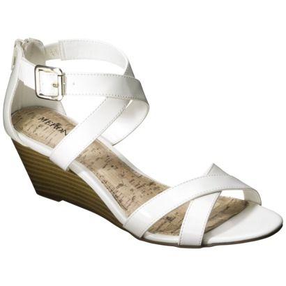 Women's Merona® Edda Zip Back Low Wedge Sandal - White -Target $22.99