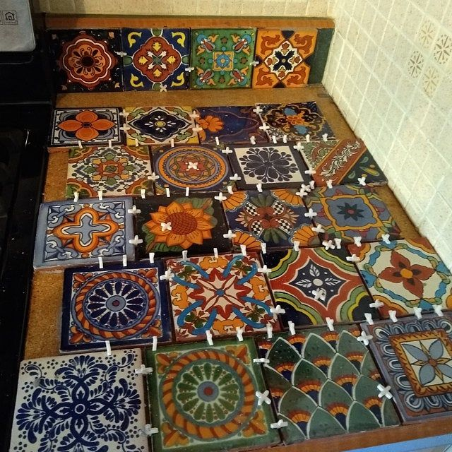 100 Pieces Mexican Talavera Tiles Handmade Terracotta Blue Mixed Designs Mexican Ceramic 4x4 Inch In 2020 Talavera Tiles Mexican Talavera Talavera