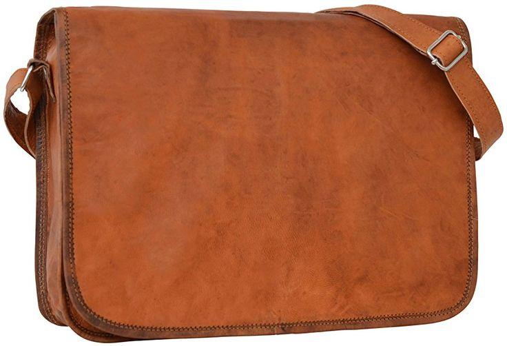 """Gusti Cuir nature """"Taylor 15"""""""" cartable en cuir sac notebook sac bandoulière sac porté épaule sacoche business homme femme cuir de chèvre marron U3"""
