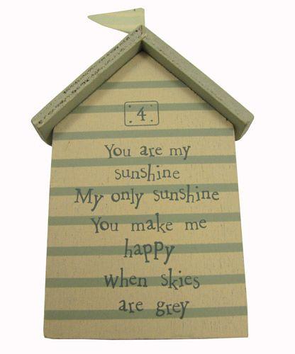 You are my sunshine beach hut little plaque