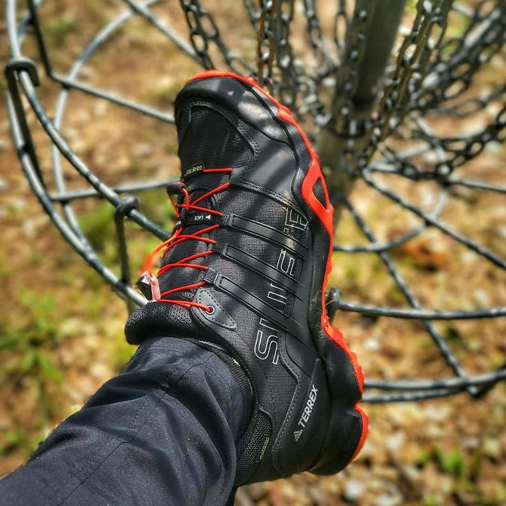 Paul McBeths' disc golf shoes!  Here's our review of the Adidas Terrex Swift R GTX shoe