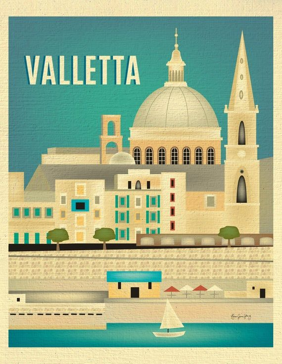Valletta Malta Art Skyline Valletta Poster Vertical Print Etsy In 2020 Valletta Barcelona Travel Poster Retro Travel Poster