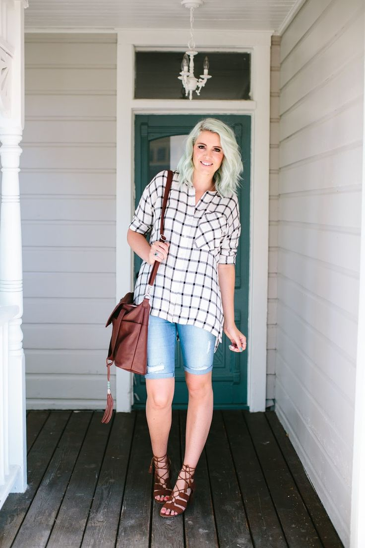 Casual button up plaid top, ripped knee length shorts, mint hair, lace up sandals, and the best diaper bag! Summer outfit from www.theredclosetdiary.com || Instagram: jalynnschroeder