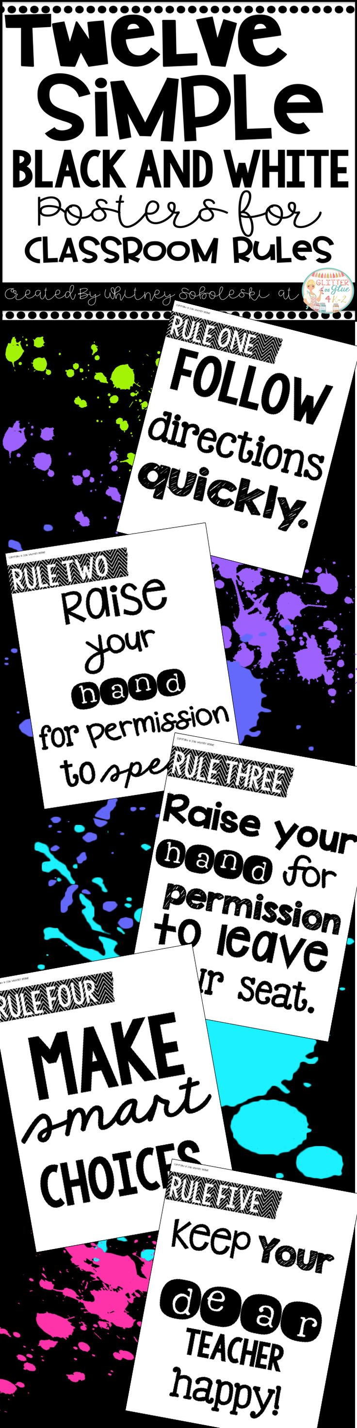 Poster design keywords - Display Your Classroom Rules With These Simple Black And White Posters Included Are Twelve Different