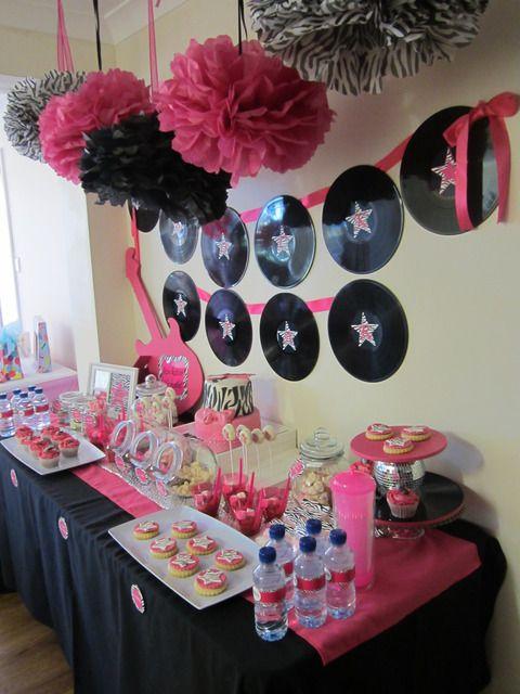 "Photo 2 of 24: pink, black and zebra! / Birthday ""Rockstar Diva Party"" | Catch My Party"