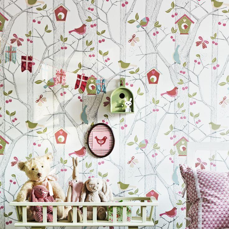 Kinderzimmer Tapete Grun kinderzimmer mit streifen harlequin tapete streifen grn Raumbild Lilleby 2652 Vlies Tapete Kinder Kirschbume Mit Vgeln In Rot Blau Und Grn