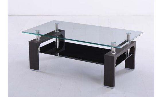 Mesa de centro en color wengu o blanco con estante transparente mesa de ce - Table transparente extensible ...