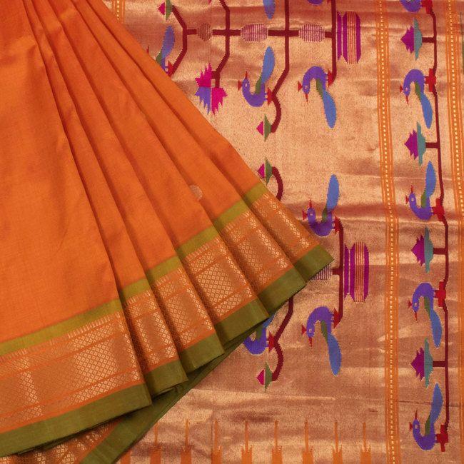 Ghanshyam Sarode Burnt Orange Paithani Silk Handwoven Saree with Peacock Motifs…