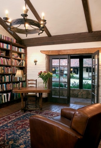 Interior finish - faux beams with no wood infill; old wood header; black window mullions: Office, House Ideas, Wood, French Doors, Dream House, Family Rooms, Rustic Family Room, Hacienda Style, Photo