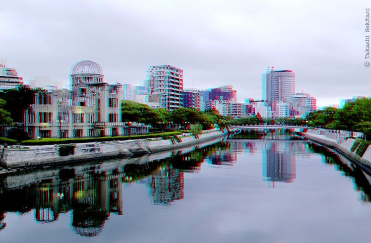 HYPERSTEREO - Genbaku dome (Atomic bomb dome) in Hiroshima (3D - anaglyph)