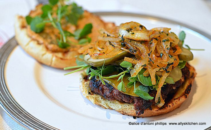 ~ottoman empire burger with roasted red pepper sauce & mint grilled onions~ Expect a global palate experience!