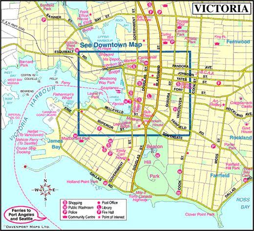 Map of Victoria, Vancouver Island, British Columbia, Canada