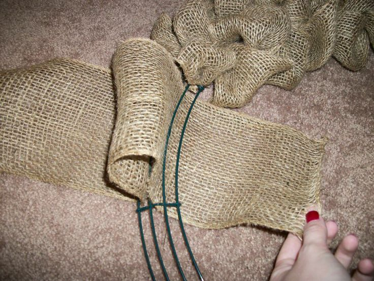 DIY burlap wreath. They sell the wire wreaths at Hobby Lobby sarting at $2.99!