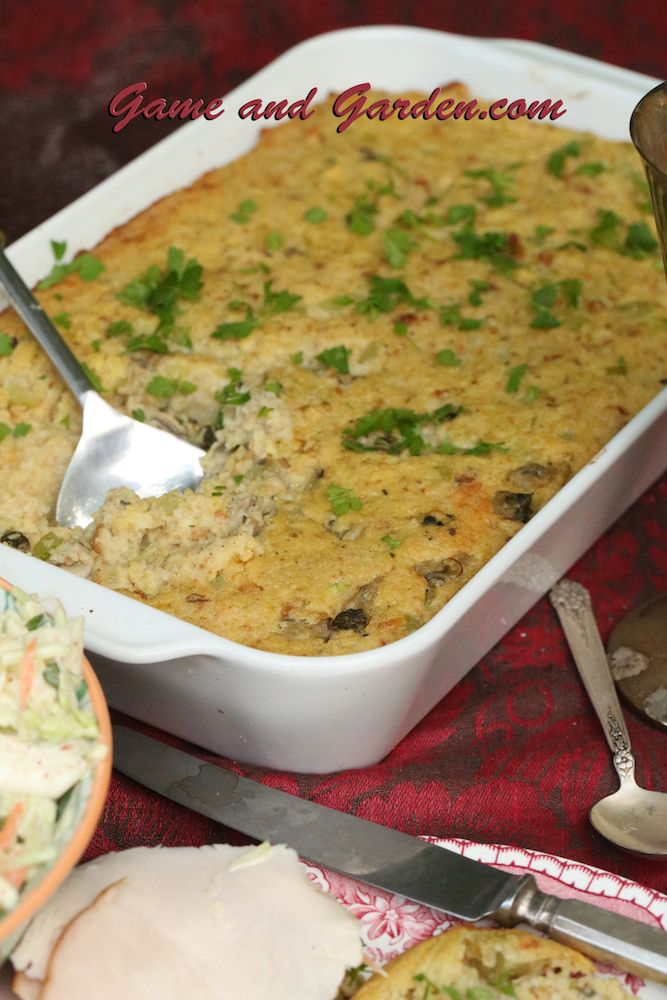 Oyster Dressing is a traditional Southern holiday food! It is much like stuffing and can be used for stuffing, but I enjoy it best as dressing. My coleslaw and fried turkey is absolutley scrumptious with it! You can leave out the oysters if you like.