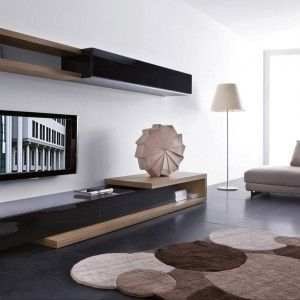 contemporary living room design with modern sofa and drum lamp shades plus stark carpet also exciting modern wall units