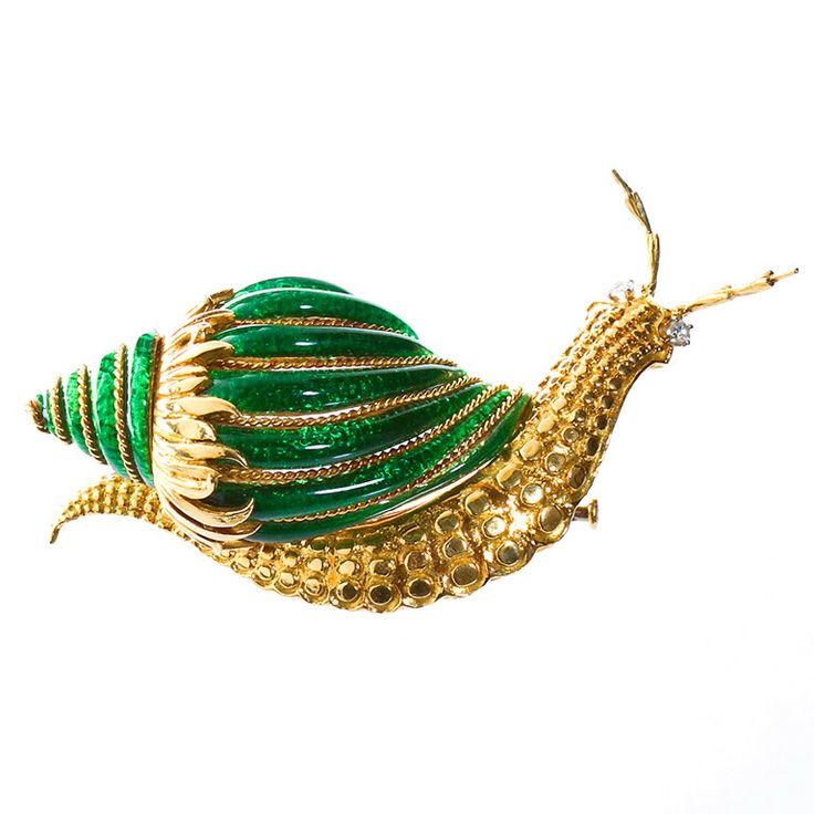 David Webb Paillonne Green Enamel Snail Brooch | From a unique collection of vintage brooches at http://www.1stdibs.com/jewelry/brooches/brooches/