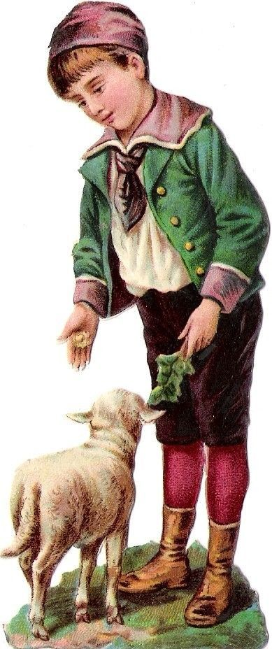 Oblaten Glanzbild scrap die cut chromo Kind child 12cm  enfant Schaf sheep