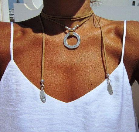 wrap necklace minimal necklace Boho jewelry bohemian by kekugi