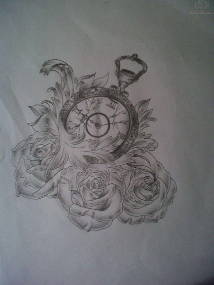 unique clock and roses tattoo design www.Hoggifts.com