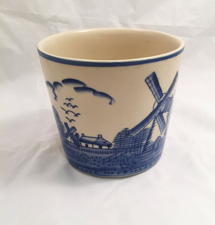 Vintage Deft Style Blue And White Pottery Cache Pot