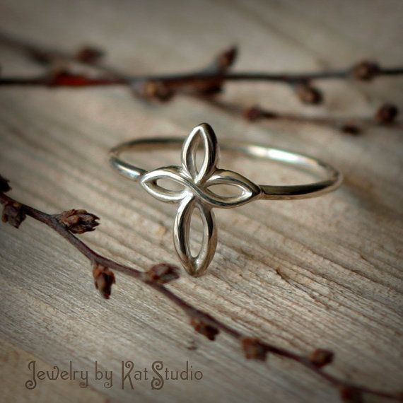 Infinity Celtic Cross Ring  Sterling Silver 925  by Katstudio, $20.00