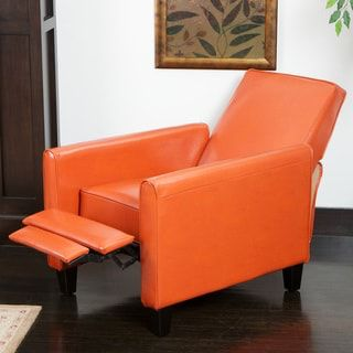 Darvis Orange Bonded Leather Recliner Club Chair by Christopher Knight Home