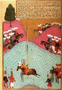 Miniature turc, représentant le sultan Murad II pratiquant le tir à l'arc il est né en juin 1404 ; il était le fils de Mehmed Ier et lui succéda comme sultan ottoman en 1421. Il est mort le 3 février 1451. Son règne comporte une interruption entre 1444 et 1446, où il donna le pouvoir à son fils Mehmed pour le lui reprendre ensuite. Mehmed le Conquérant lui succéda à sa mort en 1451