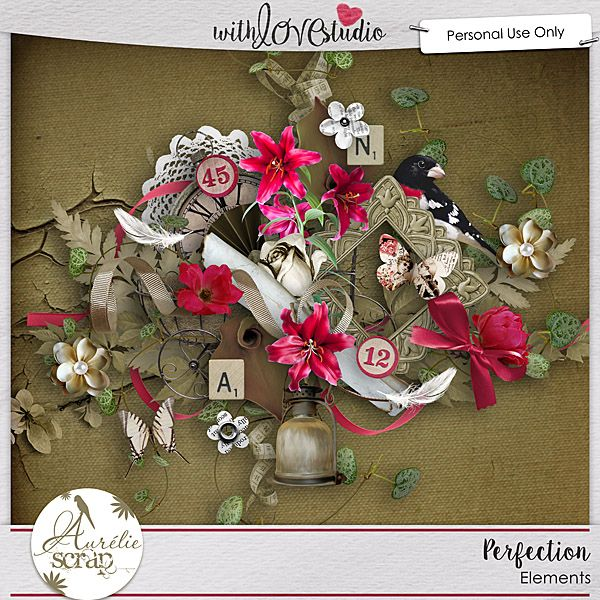 """Kit """"Perfection"""" by Aurélie Scrap. A Vintage touch in this kit... A great perfection... It contains : 10 papers 65 elements"""
