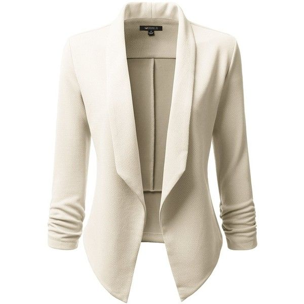 Doublju Classic Draped Open Front Blazer For Women With Plus Size ($26) ❤ liked on Polyvore featuring outerwear, jackets, blazers, draped jackets, open front jacket, drapey jacket, draped blazer and women's plus size blazers