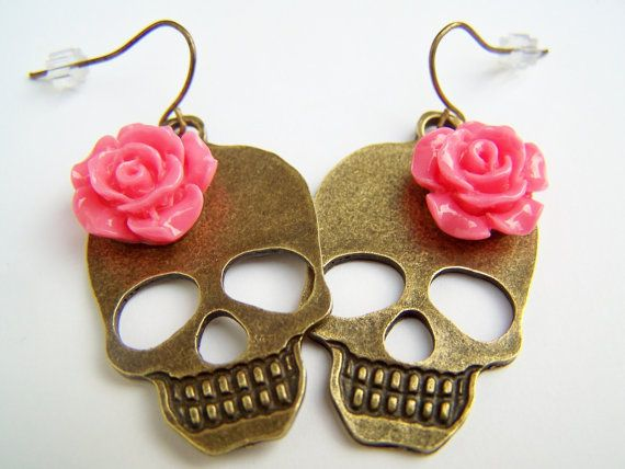 Day of the Dead Girl Skull Earrings with Pink Coral Flowers, Bronze Metal Skull Dangles, Dia de Los Muertos Jewelry - Huesos