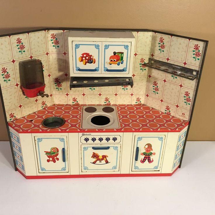 Vintage Germany Tin Litho Kitchen Set Stove, Oven, Sink BAUKNECHT #BAUKNECHT