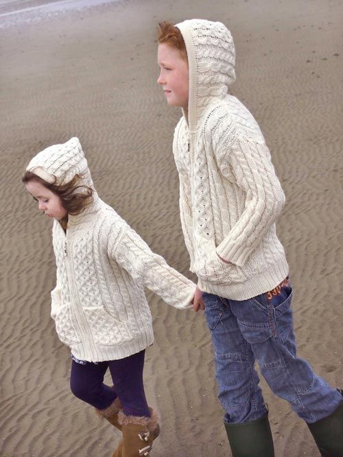 Great gift for kids.  This hoodie in traditional Irish fisherman patterns is made from 100% soft merino wool.