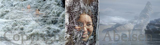 "Photography Triptych ""Scribling Spirits"" a digital collage By Naja Abelsen"