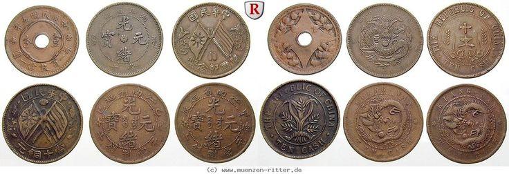 RITTER China, 6x 10 Cash 1902-1920, Republic, Kiangnan, Szechuan #coins
