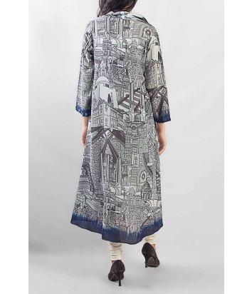 Grey Linen Pak Normal Digital Print Kurta Tunic
