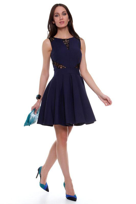 Синее короткое платье из костюмной ткани