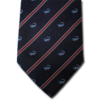Scorpio - Blue pure silk tie with zodiac sign and contrasting stipe, easy to match