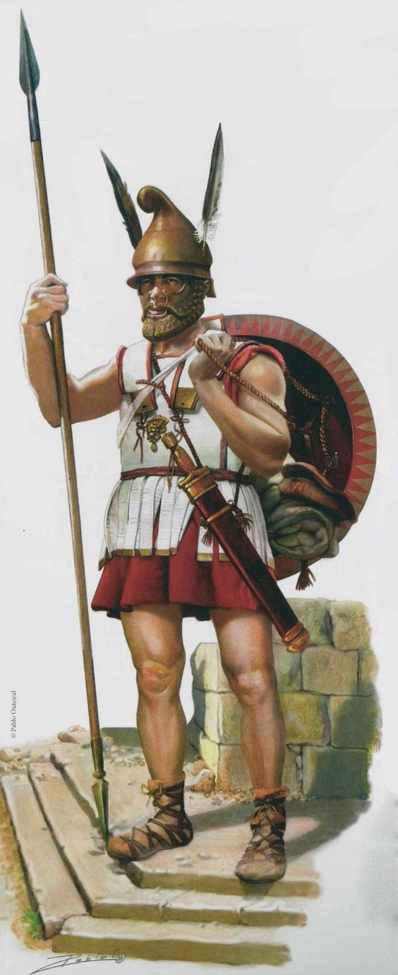 A greek hoplite 400 bc after the Greco-Persia wars greek hoplites started wear less armor for more speed instead of a full bronze suit they had cotton pr even nothing