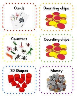 **FREE** Classroom Math Manipulatives Labels - Mrs Lovelace - TeachersPayTeachers.com