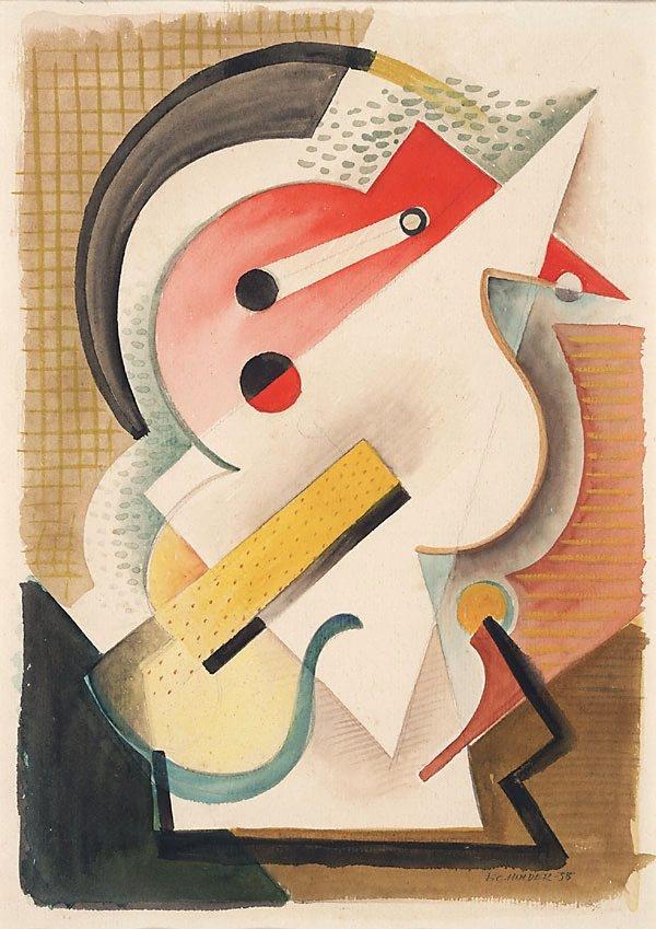 Frank Hinder ~ Cigarette still life, 1935 (pencil, watercolour)