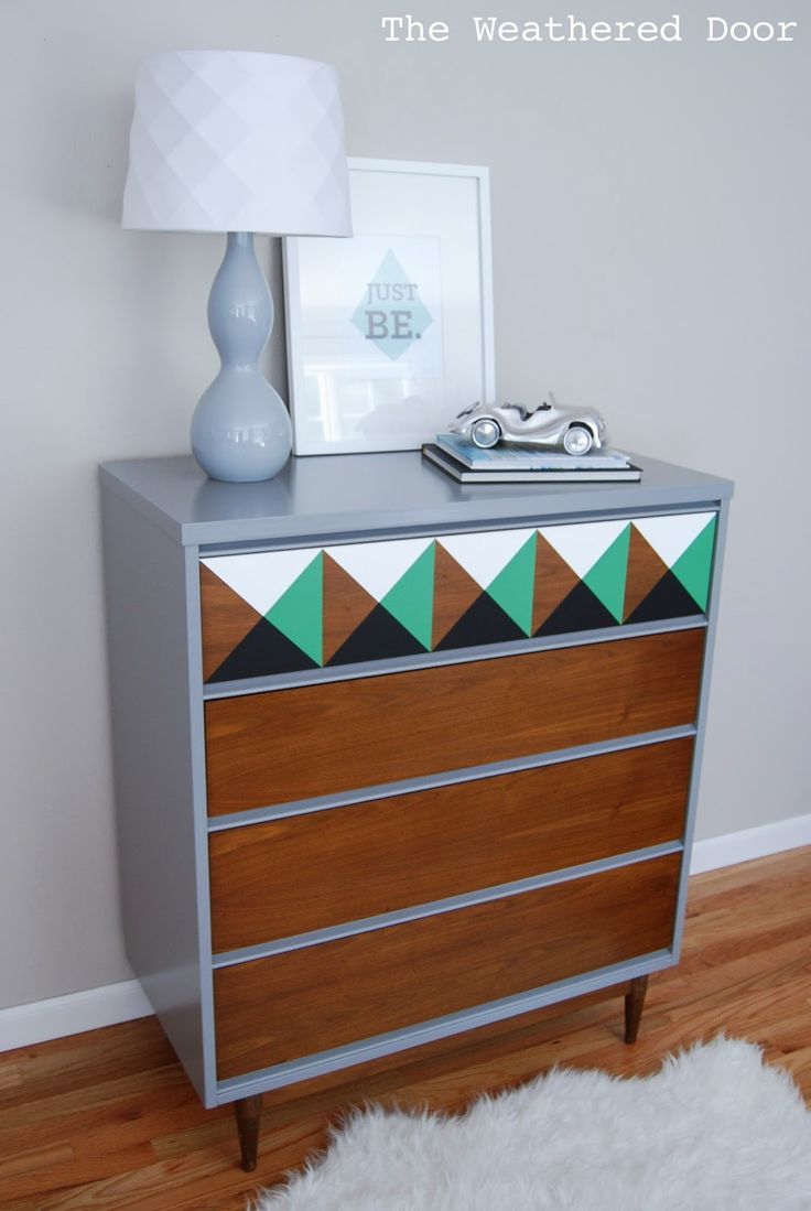 The Weathered Door: Geometric Mid Century Dresser with a Green Accent