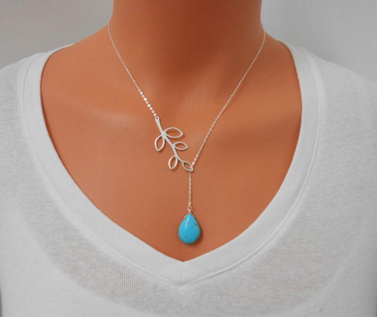 Collar Lariat  lazo turquesa collar de plata collar de la