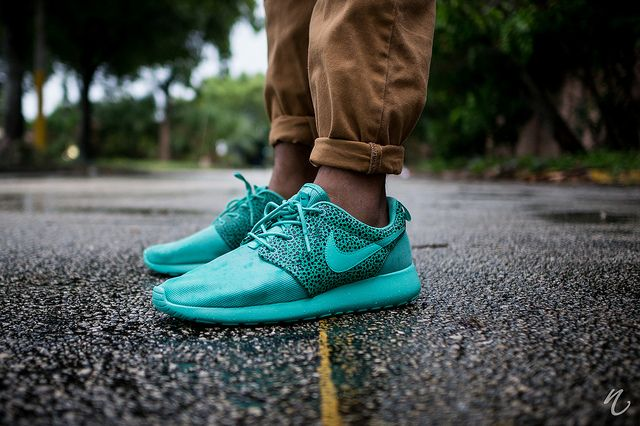Man Fashion Street Style Fresh Summer Nike Roshe Run Double Turquoise Brown Animal